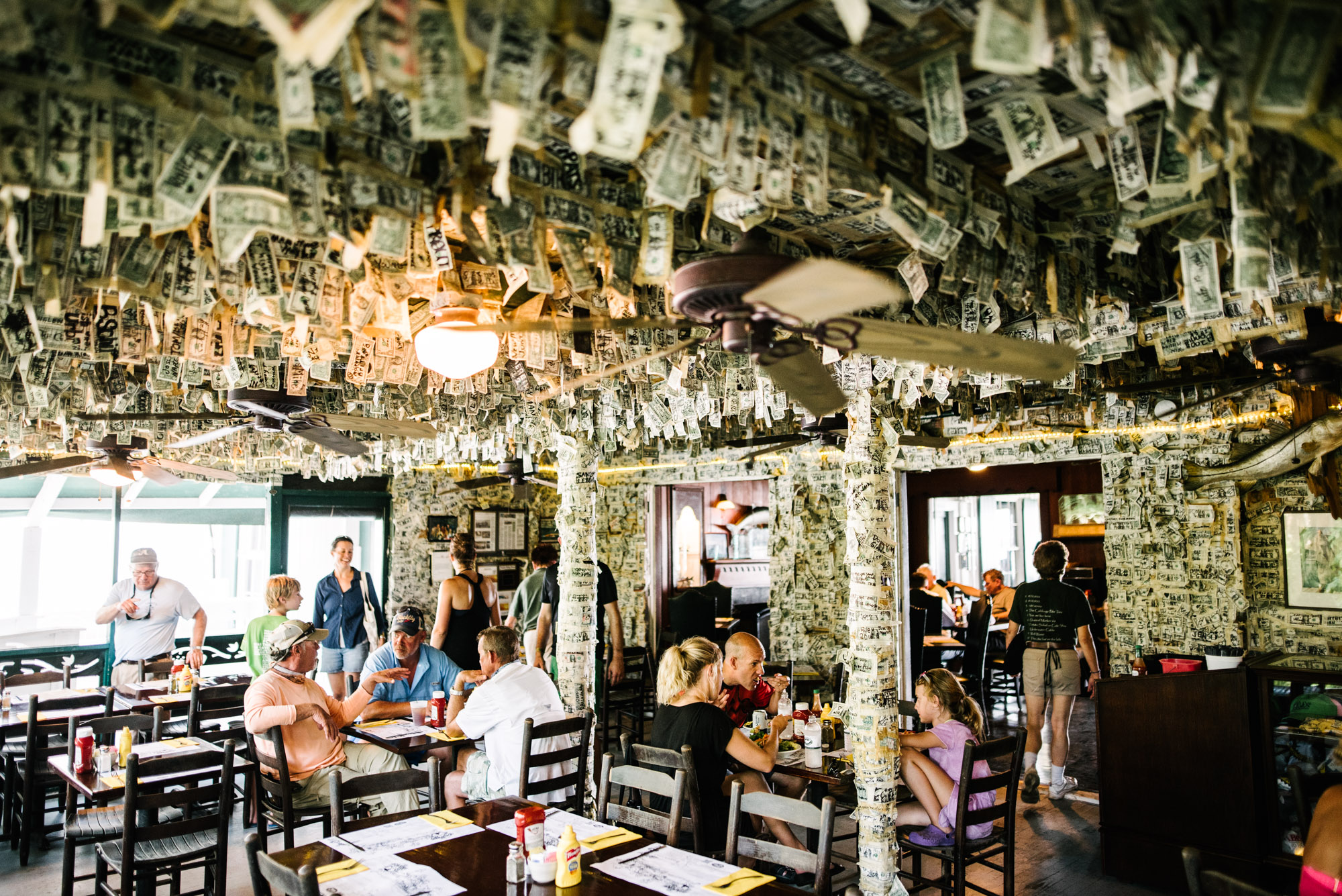 Jeff On The Road - The Beaches of Fort Myers and Sanibel Island - Cabbage Key Restaurant Dollar Bill Bar